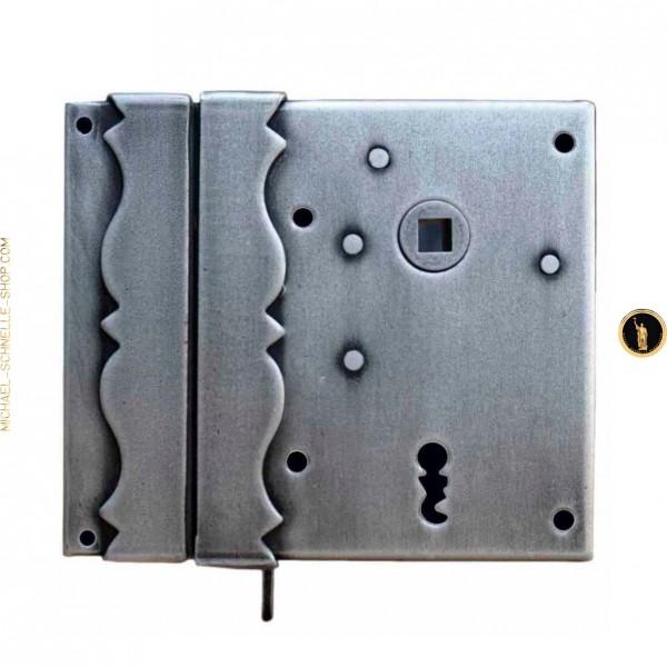 Kastenschloß 5800 DEK/CH, einwärts, mit Dekor, Buntbart, schließender Falle und Schlüssel CH3