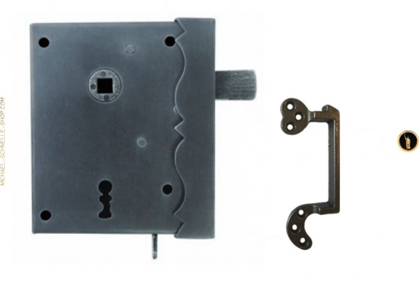 Kastenschloß 5830 DEK/CH, auswärts, mit Dekor, Buntbart, schließender Falle und Schlüssel CH3