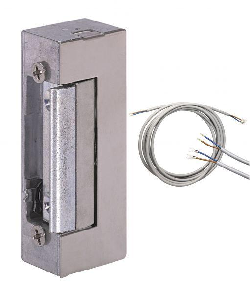 Elektro-Türöffner mit Tagesentriegelung und Anschlußkabel